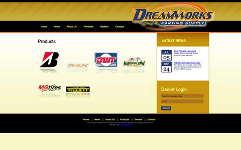 Screenshot of Products Page dreamworkskarting.com - Dream Works Karting Supply - captured Oct. 5, 2014