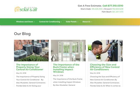 Screenshot of Blog solarandair.com - Blog - Florida Solar & Air, Impact Windows, Central Air Conditioning, Solar PV - captured Oct. 10, 2018