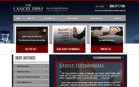 Screenshot of Testimonials Page thelangelfirm.com - Testimonials | New York City Debt Collection Defense Attorney - captured Sept. 30, 2014