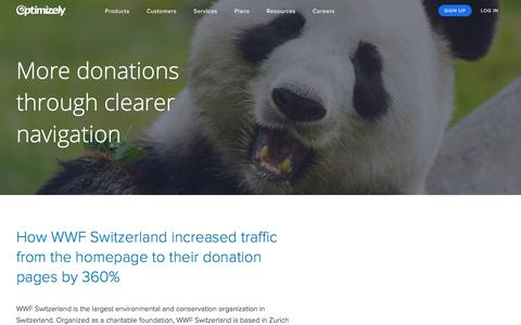 WWF Switzerland increased traffic from the homepage to their donation pages by 360%