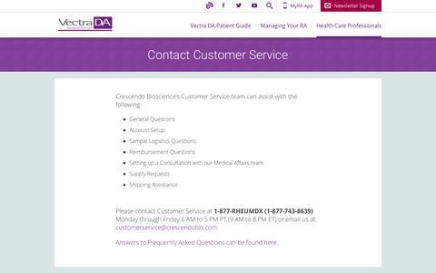 Screenshot of Support Page vectrada.com - Vectra DA | Contact Customer Service | - captured Jan. 28, 2017