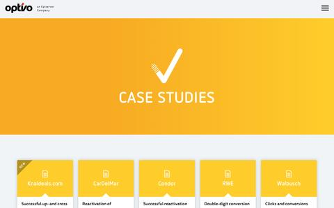 Screenshot of Case Studies Page optivo.com - Email Marketing Case Studies - optivo - captured Dec. 19, 2016