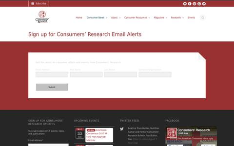 Screenshot of Signup Page consumersresearch.org - Consumers' Research   » Sign up for Consumers' Research Email Alerts - captured May 21, 2017
