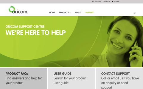 Screenshot of Support Page oricom.com.au - Oricom Support & Contact Details - captured Sept. 23, 2018