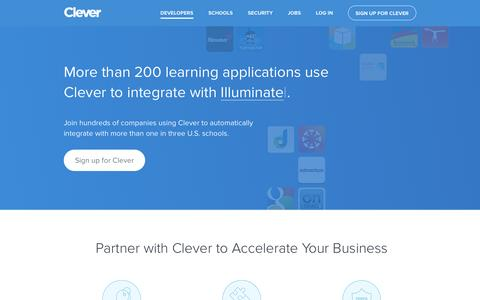 Screenshot of Developers Page clever.com - Clever |  Developers - captured Jan. 28, 2016