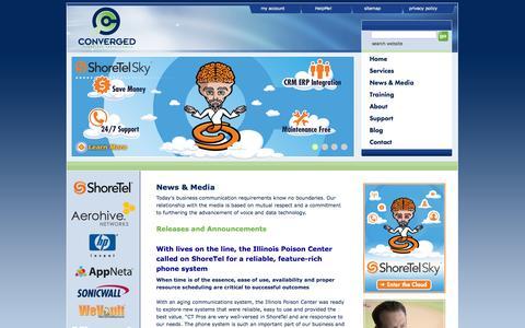Screenshot of Press Page ct-pros.com - News for ShoreTel, Aerohive, Procurve, AppNeta, Microsoft - captured Oct. 3, 2014