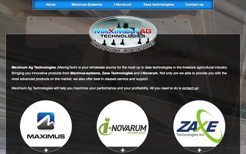 Screenshot of Home Page maxagtech.com - Maximum Ag Technologies - MaxAgTech, home of the Maximus Controller - captured Oct. 6, 2014