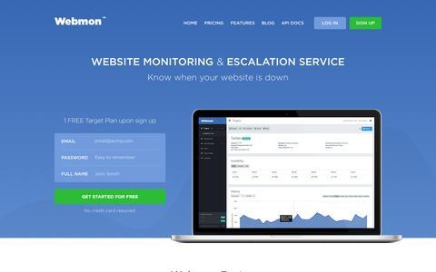 Screenshot of Home Page webmon.com - Website Monitoring & Escalation Service — Webmon - captured Sept. 20, 2015