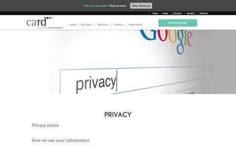 Screenshot of Privacy Page card-group.com - Privacy - CARD Group | Market Research Agency - captured Sept. 26, 2018