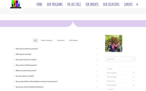 Screenshot of FAQ Page alcchildcare.com - FAQs - Frequently Asked Questions about Active Learning Centers - captured Oct. 3, 2018