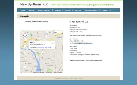 Screenshot of Contact Page thenewsynthesis.com - New Synthesis, LLC - Wilton CT - Contact Us - Energy Healing - Meditation - captured Oct. 26, 2014
