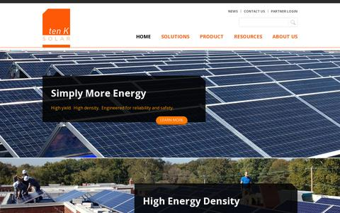 Screenshot of Home Page tenksolar.com - Home | tenKsolar - captured July 17, 2014