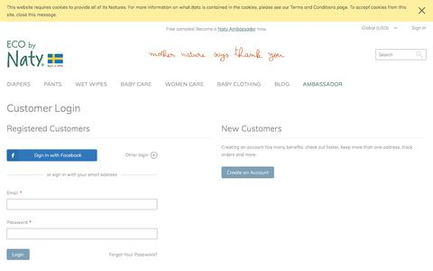 Screenshot of Login Page naty.com - Customer Login - captured June 21, 2017