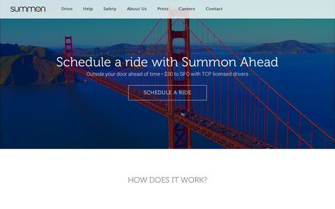 Screenshot of Home Page summon.com - Summon | Schedule a Ride - captured Sept. 25, 2015