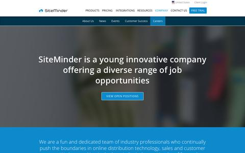 Screenshot of Jobs Page siteminder.com - SiteMinder Careers - come join a world of innovation - captured Aug. 16, 2017