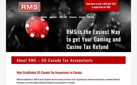 Screenshot of About Page refundmanagement.com - US-Canada Tax Accountants: Easy Gaming & Casino Tax Returns | RMS - captured Nov. 7, 2017