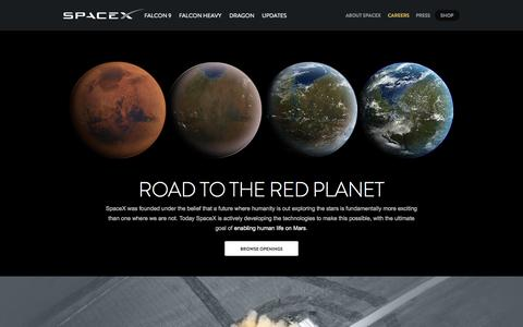 Screenshot of Jobs Page spacex.com - Careers | SpaceX - captured Oct. 26, 2014