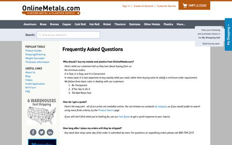 Screenshot of FAQ Page onlinemetals.com - Questions about buying Metals Online | Small Quantity Metal Shipping, Delivery | How to Order Pipe Sizes | 14 Gauge Sheet | Product Guides at OnlineMetals.com - captured March 22, 2018