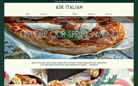 Screenshot of Menu Page askitalian.co.uk - Discover Our Delicious Menu Online | ASK Italian - captured May 28, 2017