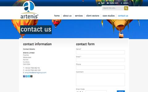 Screenshot of Contact Page artenisgroup.com - contact us | Artenis Group - captured Oct. 4, 2014