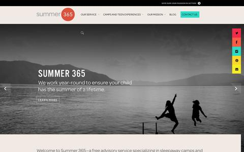 Screenshot of Home Page summer365.com - Summer 365 | The Best Sleepaway Overnight Camps & Summer Programs - captured Sept. 30, 2014