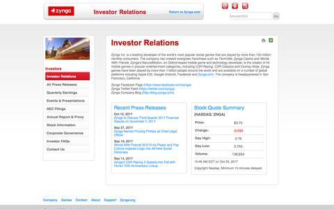 Investor Relations | Zynga Inc.