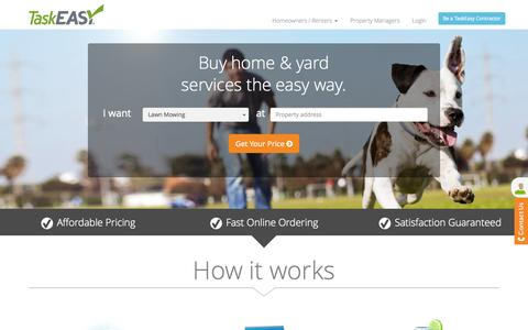 Screenshot of Home Page taskeasy.com - TaskEasy. Affordable professional home maintenance services! - captured Aug. 11, 2015