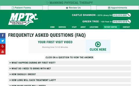 Screenshot of FAQ Page manningphysicaltherapy.net - Frequently Asked Questions - captured May 7, 2019