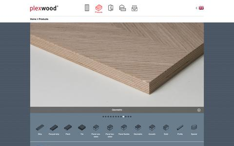 Screenshot of Products Page plexwood.com - Recomposed architectural design products | Plexwood - captured May 19, 2017