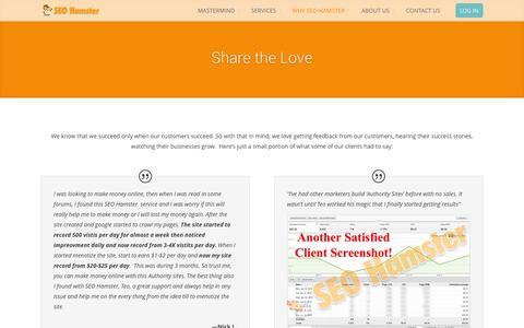 Screenshot of Testimonials Page seohamster.com - Testimonials | SEO Hamster - Search Engine Optimization - captured Oct. 30, 2014