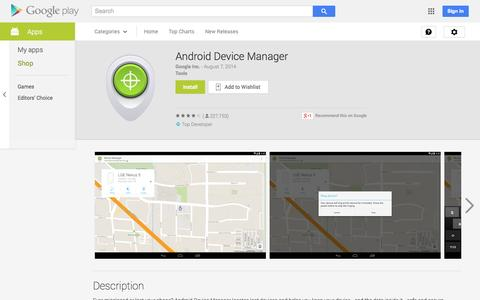 Screenshot of Android App Page google.com - Android Device Manager - Android Apps on Google Play - captured Oct. 30, 2014
