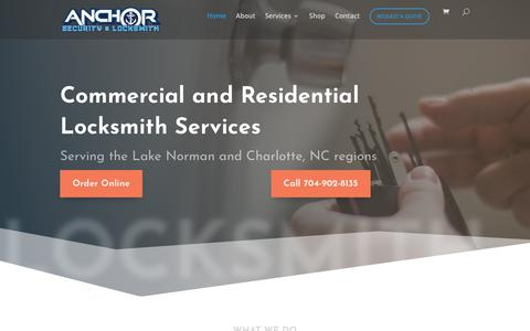 Screenshot of Home Page anchorsl.com - Home - Anchor Security and Locksmith of Cornelius NC - captured Oct. 3, 2018