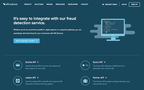 Screenshot of Developers Page siftscience.com - Fraud Detection Service Integration | Sift Science - captured Nov. 18, 2015
