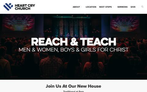 Screenshot of Home Page heartcrychurch.com - Heart Cry Church - captured July 18, 2018