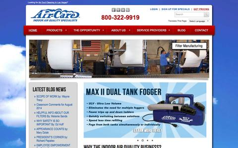 Screenshot of Home Page air-care.com - Air Duct Cleaning Equipment, Supplies and Training by Air-Care - captured Dec. 24, 2015