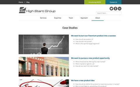 Screenshot of Case Studies Page highstartgroup.com - High Start Group | Case Studies and Real-world results - High Start Group, Boston MA - captured Sept. 30, 2014