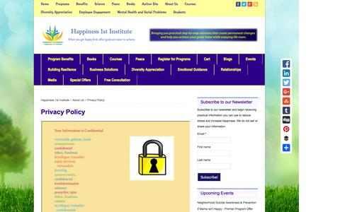 Screenshot of Privacy Page happiness1st.com - Privacy Policy - Happiness 1st Institute - captured Dec. 7, 2015