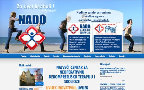 Screenshot of Home Page Developers Page nado.hr - alergija intolerancija hrana, vitamini, minerali, test » Fizikalna terapija NADO - captured Oct. 6, 2014