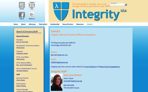 Screenshot of Contact Page integrityusa.org - Contact - captured Sept. 30, 2014