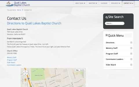 Screenshot of Contact Page Maps & Directions Page qlbc.org - Directions to Quail Lakes Baptist Church | Stockton Baptist Church - captured Oct. 22, 2014
