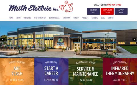 Screenshot of Home Page muthelectric.com - Electrical Contractors in South Dakota & Nebraska | Muth Electric - captured Oct. 20, 2018