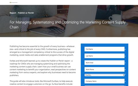 Screenshot of Landing Page microsoft.com - Microsoft – Publish or Perish - captured July 24, 2017