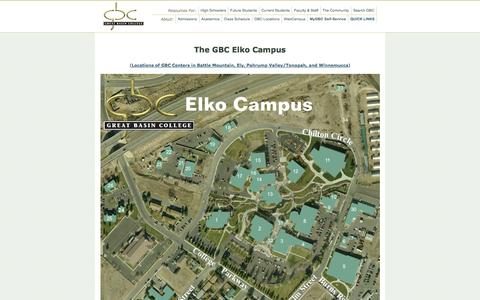 Screenshot of Maps & Directions Page gbcnv.edu - Great Basin College: Maps - Home - captured Sept. 22, 2014