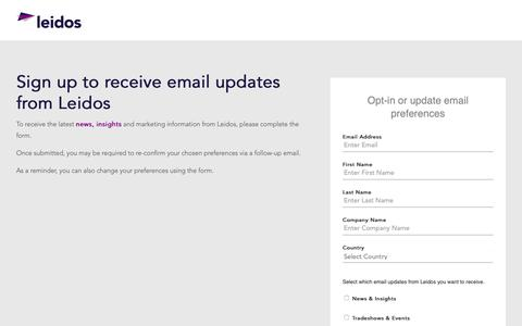 Screenshot of Landing Page leidos.com - Leidos: Sign up for our Emails or Update Preferences - captured Jan. 29, 2019