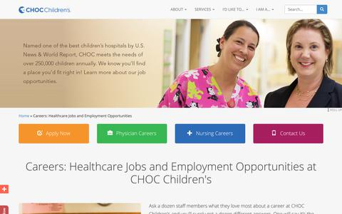 Screenshot of Jobs Page choc.org - Careers: Healthcare Jobs and Employment Opportunities at CHOC Children's - captured June 26, 2017