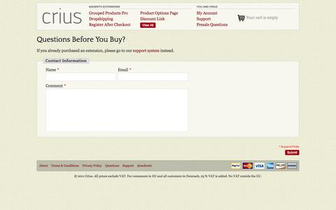Screenshot of FAQ Page criuscommerce.com - Contact Us - captured Oct. 3, 2014