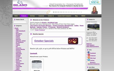Screenshot of Products Page inlandassoc.com - Authorized distributor of Genicom, Tally, Printek, Fujitsu, Lexmark,  Printronix, Oki, OkiData printers... - captured Oct. 6, 2014