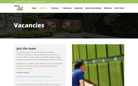 Screenshot of Jobs Page ecooutdoor.com.my - Vacancies | Eco Outdoor Malaysia - captured Sept. 27, 2018
