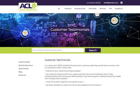 Screenshot of Testimonials Page ashlea.co.uk - Happy Customers! - captured Oct. 8, 2017