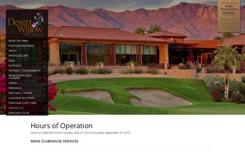 Screenshot of Hours Page desertwillow.com - Palm Desert, California Golf Courses - Desert Willow Golf Resort - captured Feb. 9, 2016